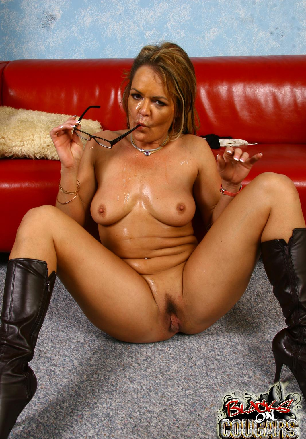 Sarah a beautyful granny curious granny is covered with black cum