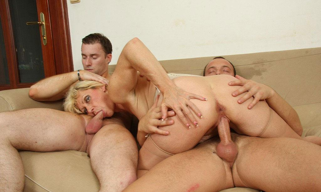 Rebekah a old mature granny taking it on with 2 young studs in every hole