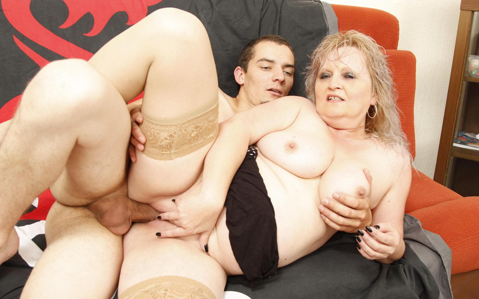 Kari a beautyful granny sucking a guy that is 40 years younger then she is
