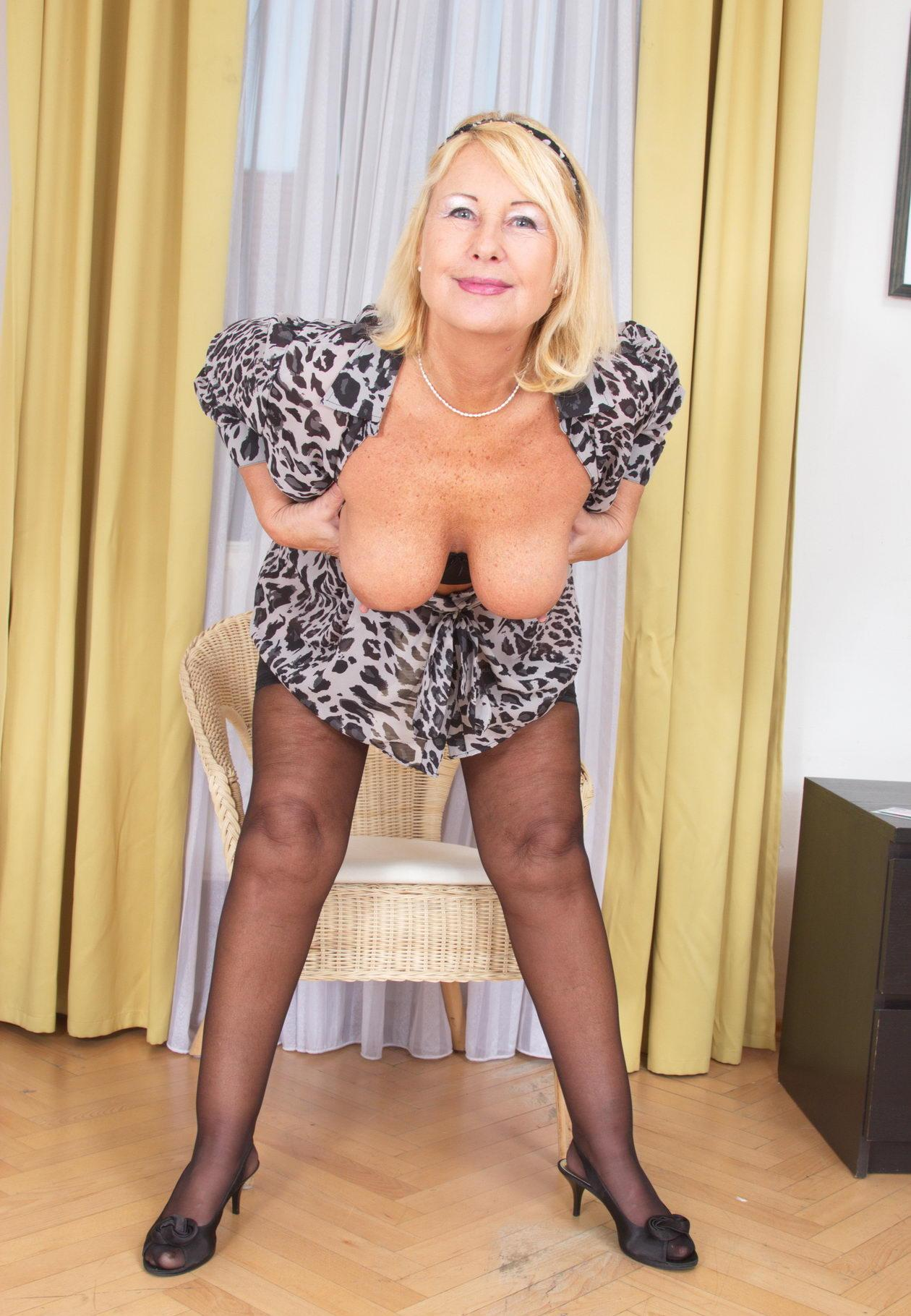 Shelby a 66 old desirable HOMEMADE GRANNY with a great downblouse view