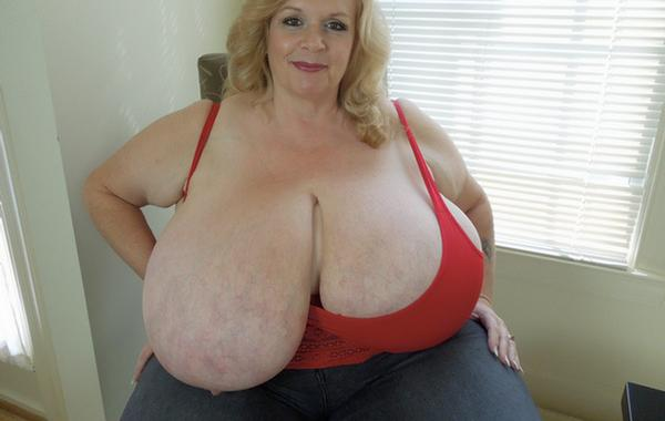 Tanya a 68 old eager BIG TITTED GRANNY showing worlds biggest granny titties