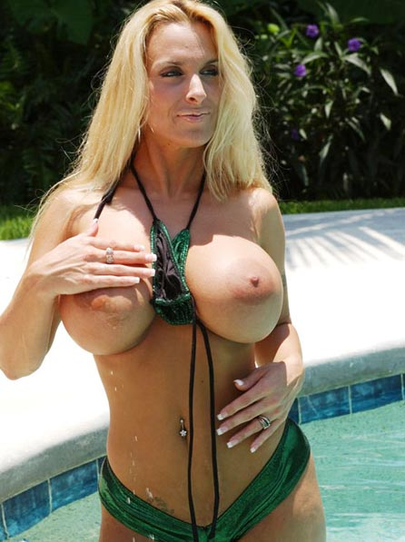 Barbara a 59 old perverted BIG TITTED GRANNY masturbating near the pool