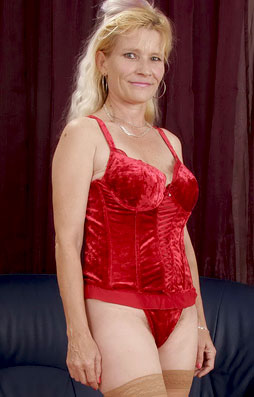 Krista a 65 old cravng FLASHING GRANNY doing a striptease in her new red lingerie