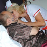 sexy old nurse takes care about a young patiens hard penis #4