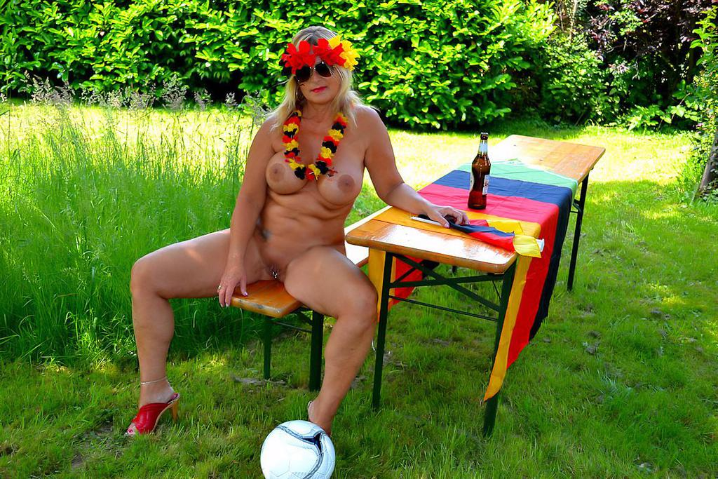 sexy german granny on a mallorcan nudist camp celebrating world cup