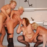 hot reverse gangbang with 70 years old granny  #9