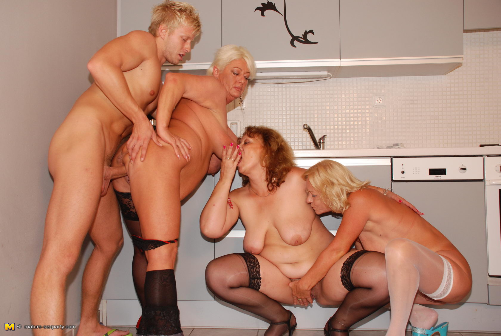 hot reverse gangbang with 70 years old granny and friends