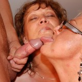 hot reverse gangbang with 70 years old granny  #7