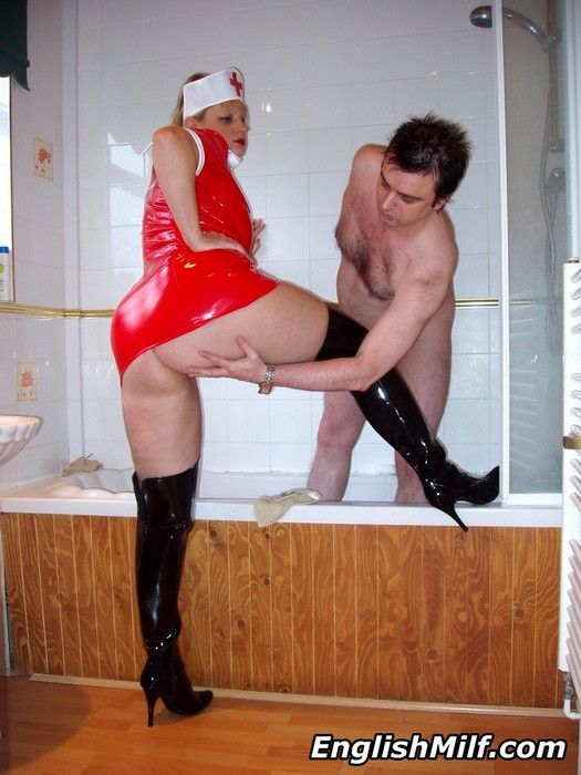 slutty english granny nurse heals a guy from his congested pipe