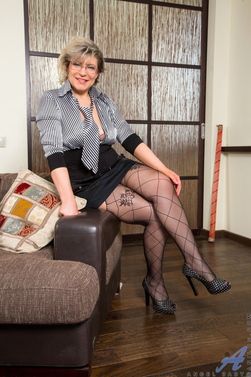 swinger granny in crouchless stockings #1