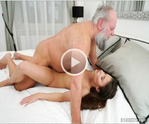 70 years old grandpop is lying on a young beautiful girl and taking her virginity