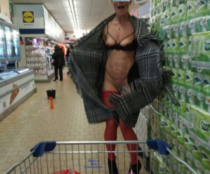 kinky aged nudist flashing her tits and pussy in a lidl store