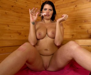 hot mature wife invites her stepson inside the sauna for a common wank