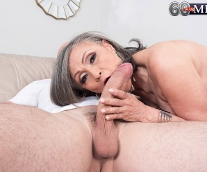 60 years divorced grey haired granny enjoys young penis with great pleasure after two yours with no sex