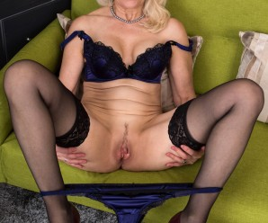 grandmother Margarethe, 64 years old doing her first pussy striptease for anilos