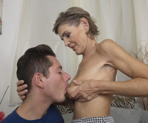Never would have expected to feel such a tight grip inside this skinny granny eager vagina