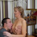 sexy granny rewards skillfull pussy eating with fellation of young penis