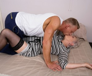 video of 74 years old boss granny going down on muscular guy