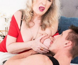 60plus granny Blair Angeles drains a young athletic dude with her mouth arse and pussy