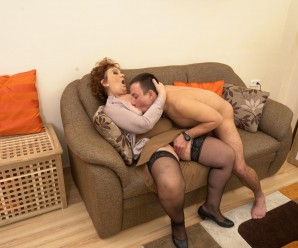 Old domineering grandmother deflowered inexperienced man and demands lots of kisses with tongue