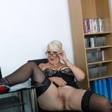 her last day in the office before she retires - she shows her big old pussy picture 7