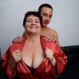young man lies down on the old fat bbw granny and comes quickly picture 3