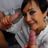 Little unofficial anal gangbang with granny finance director before she retires. picture 5