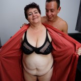 young man lies down on the old fat bbw granny and comes quickly picture 7