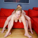 squirting granny makes a huge mess on her stepsuns couch picture 9