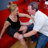 squirting granny makes a huge mess on her stepsuns couch picture 7