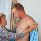 helpful senior consultant lady helping a young bro out with hand and blowjob picture 5