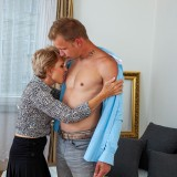 helpful senior consultant lady helping a young bro out with hand and blowjob picture 6