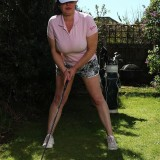 a day at the golf course with senior lady Janey flashing er tits picture 3