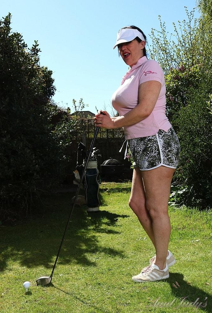 a day at the golf course with senior lady Janey flashing er tits picture 2
