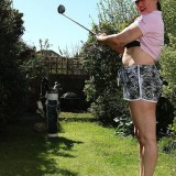 a day at the golf course with senior lady Janey flashing er tits picture 5
