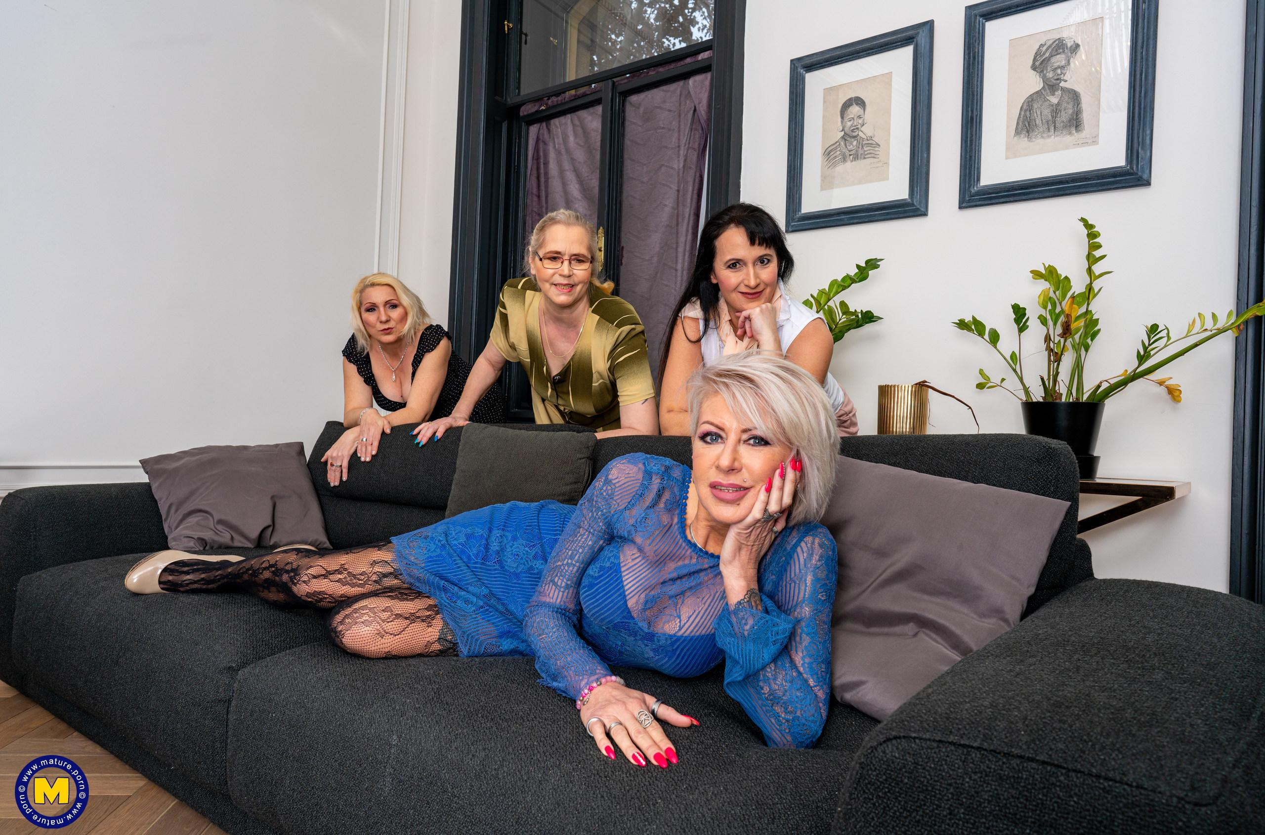 a overcrowded granny gangbang - 4 oldies sharing 2 young dicks picture 2